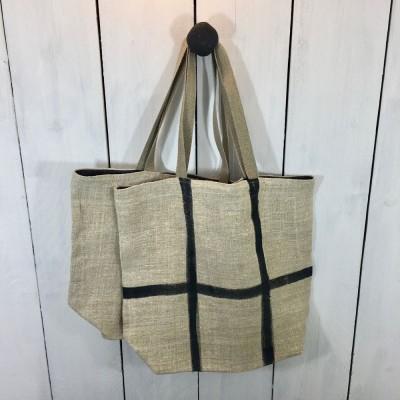 sac besace cabas chanvre ancien peint