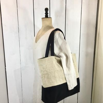 sac besace cabas chanvre ancien bicolore