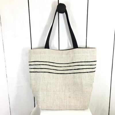 Besace, sac, cabas chanvre ancien rayé noir