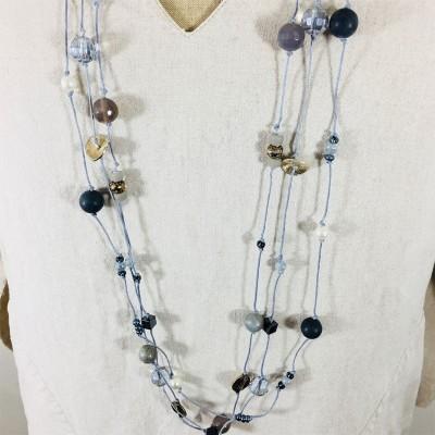 Collier sautoir perles grises
